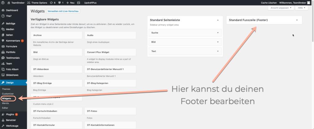 Wordpress Footer bearbeiten, Footer deutsch, Footer WordPress, Webdesign Darmstadt, Teamstreber Webdesignerin