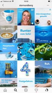50 Shades of Blue: Markenbildung extremes Branding mit Stern und Berg