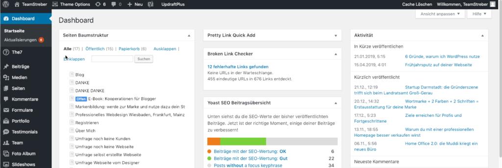 Wordpress lernen: WordPress Dashboard