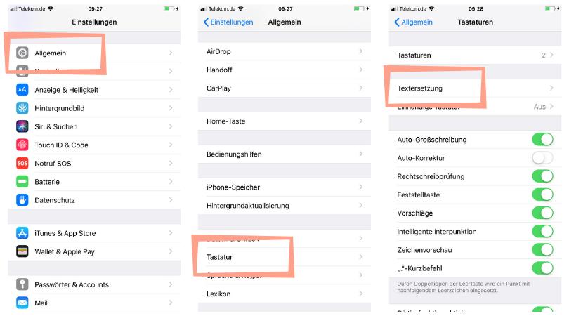 Textersetzung iPhone, iPhone Kurztexte