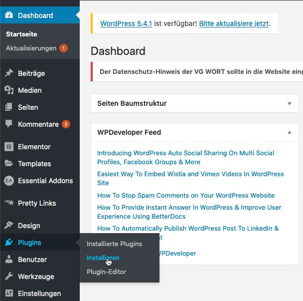 WordPress Page Builer Anleitung