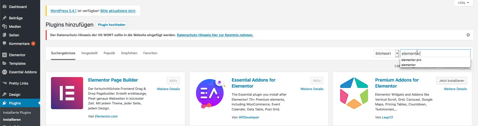 Download Elementor Page Builder, WordPress Page Builer Anleitung