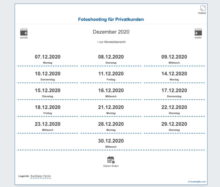 Terminflix Kalender auf der Webseite