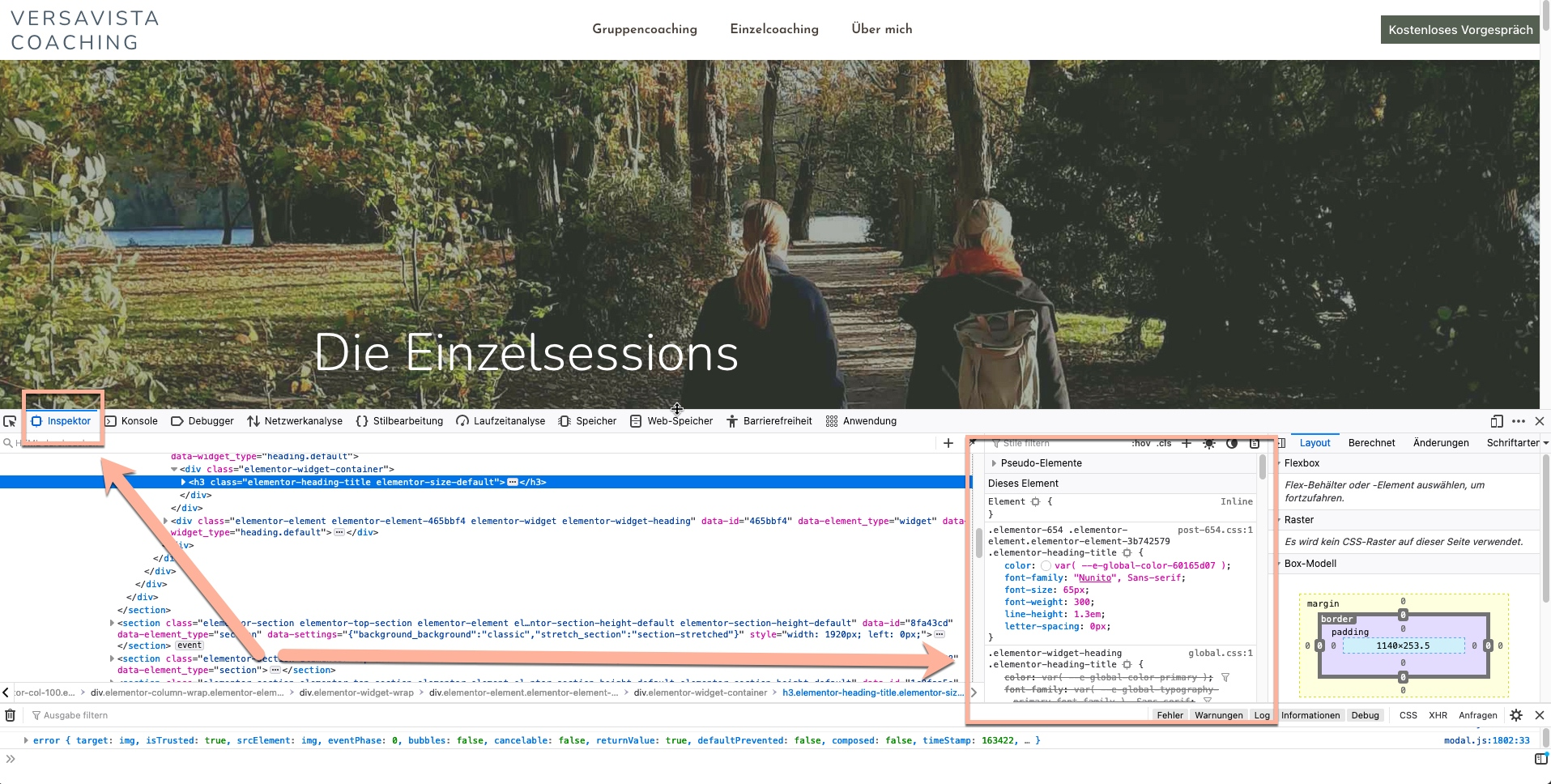 Schrift erkennen im Firefox Browser